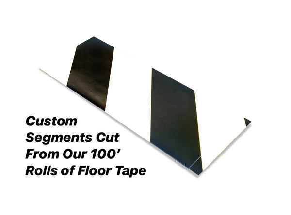"Custom Cut Segments - 4"" White Tape with Black Diagonals - 100'  Roll"