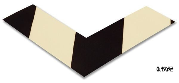 "2"" Wide Solid White Angle With Black Chevrons - Pack of 25 - FloorTapeOutlet.com"