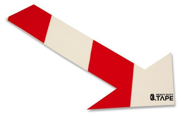 Solid WHITE Arrow With Red Chevrons - Pack of 50 - FloorTapeOutlet.com
