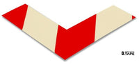 "2"" Wide Solid White Angle With Red Chevrons - Pack of 25 - FloorTapeOutlet.com"