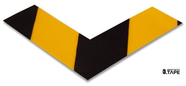 "2"" Wide Solid Yellow Angle With Black Chevrons - Pack of 25 - FloorTapeOutlet.com"