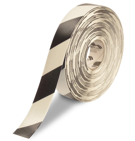 "2"" White Floor Tape with Black Diagonals - Mighty Line"