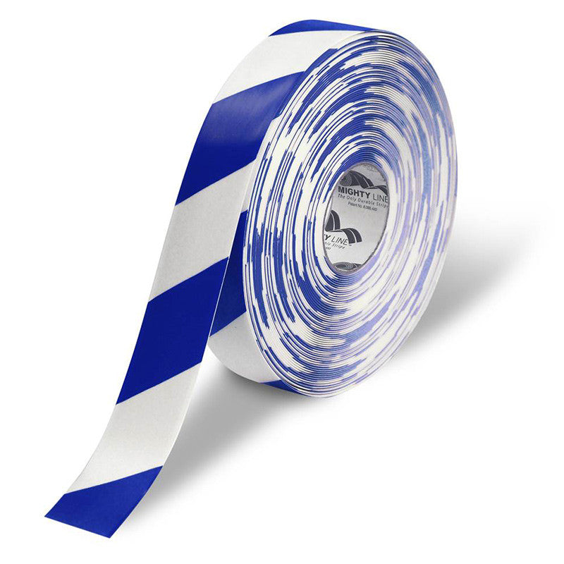 "2"" White Floor Tape with Blue Diagonals - 5s Warehouse"