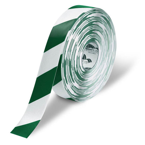 "2"" White Floor Tape with Green Diagonals - 5s Warehouse"
