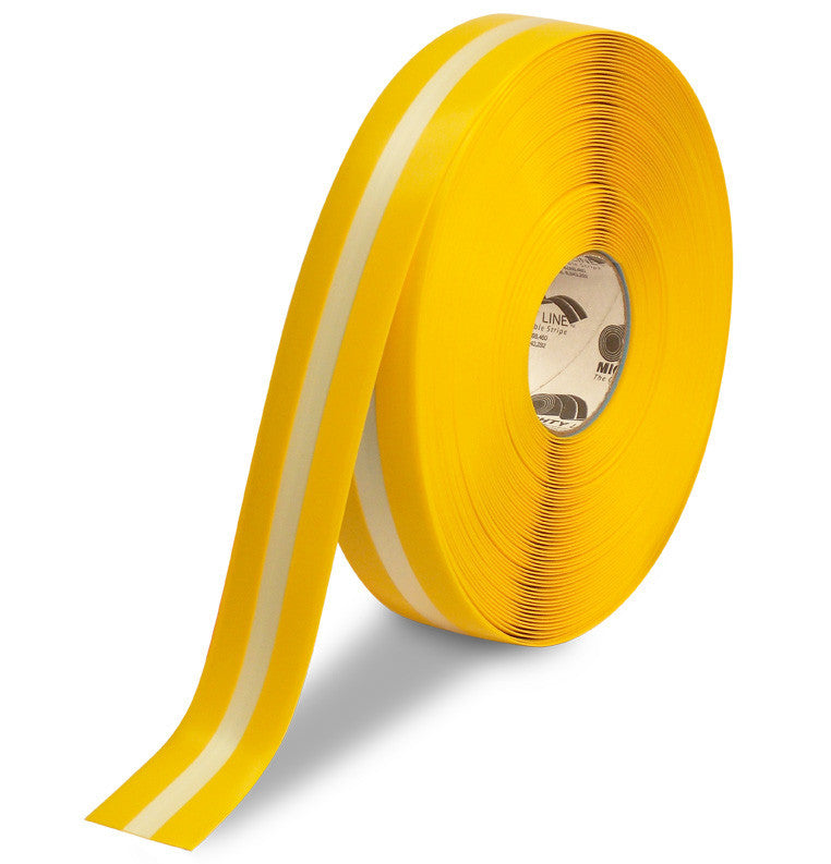 "2"" Yellow MightyGlow with Luminescent Center Line Safey Tape - 100'  Roll"