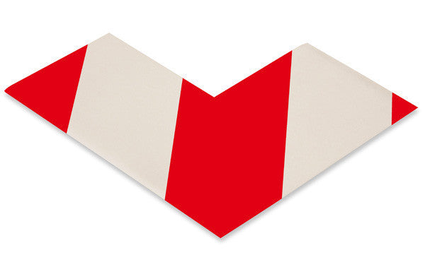 "3"" Wide Solid White Angle With Red Chevrons - Pack of 100"