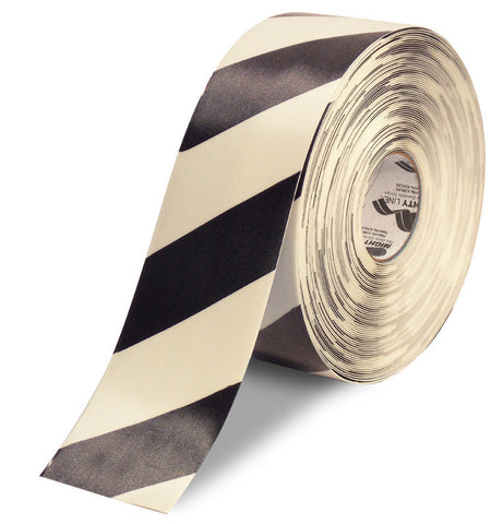 "4"" White Floor Tape with Black Diagonals - 100'  Roll"