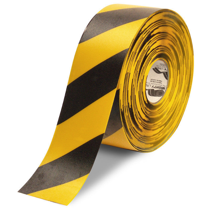 "4"" Yellow Floor Tape with Black diagonals - 100'  Roll"
