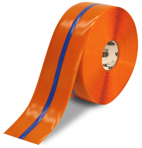 "4"" Orange Tape with Blue Center Line - 100'  Roll"