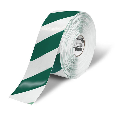 "4"" White Floor Tape with Green Diagonals - 5s Warehouse"