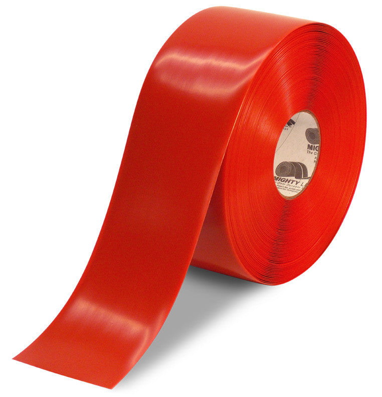 ad4e13958f1202 4 Inch Red 5S Floor Tape - Mighty Line - 100 foot Roll
