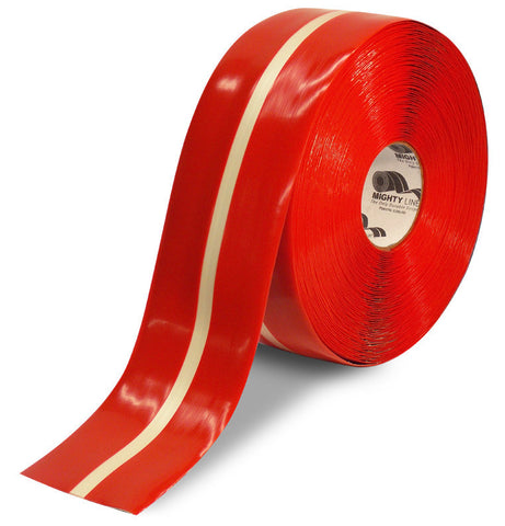 "4"" Red MightyGlow with Luminescent Center Line Safety Tape - 100'  Roll"