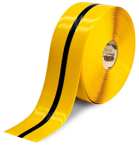 "4"" Yellow Tape with Black Center Line - 100'  Roll"