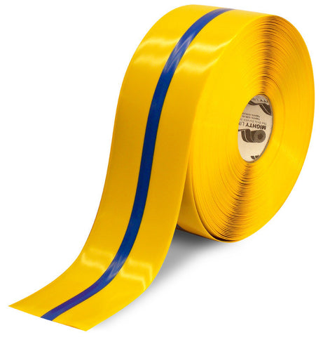"4"" Yellow Tape with Blue Center Line - 100'  Roll"
