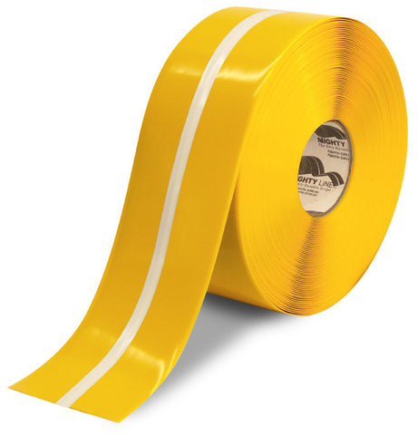"4"" Yellow MightyGlow with Luminescent Center Line Safety Tape- 100'  Roll"