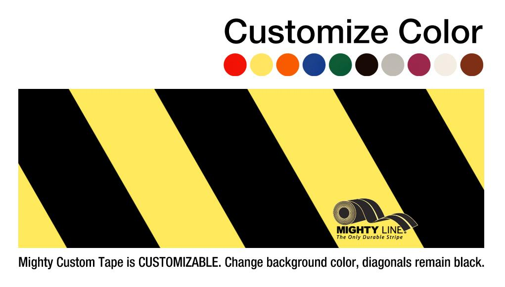 "Customized - 6"" Repeating Message Floor Tape With Black Diagonals - 1 Roll"