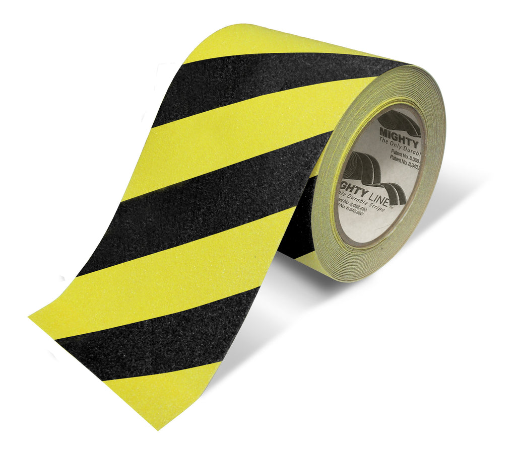 "6"" Yellow With Black Chevrons Anti-Slip Floor Tape - 60' Roll"