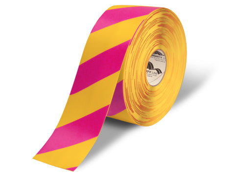 "4"" Yellow Floor Tape with Magenta Diagonals - 100'  Roll"