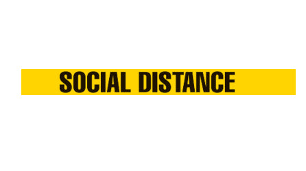 "Social Distancing Floor Tape - Repeat Message 4"" x 100'"