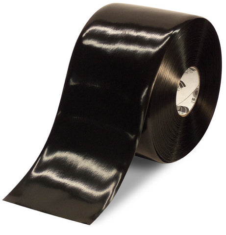 6 Inch Black 5S FloorTape - Mighty Line - 100 Foot  Roll