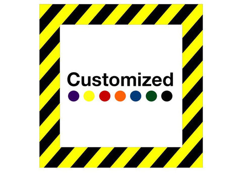 Customized - Square Shape Floor Sign With Black Diagonals
