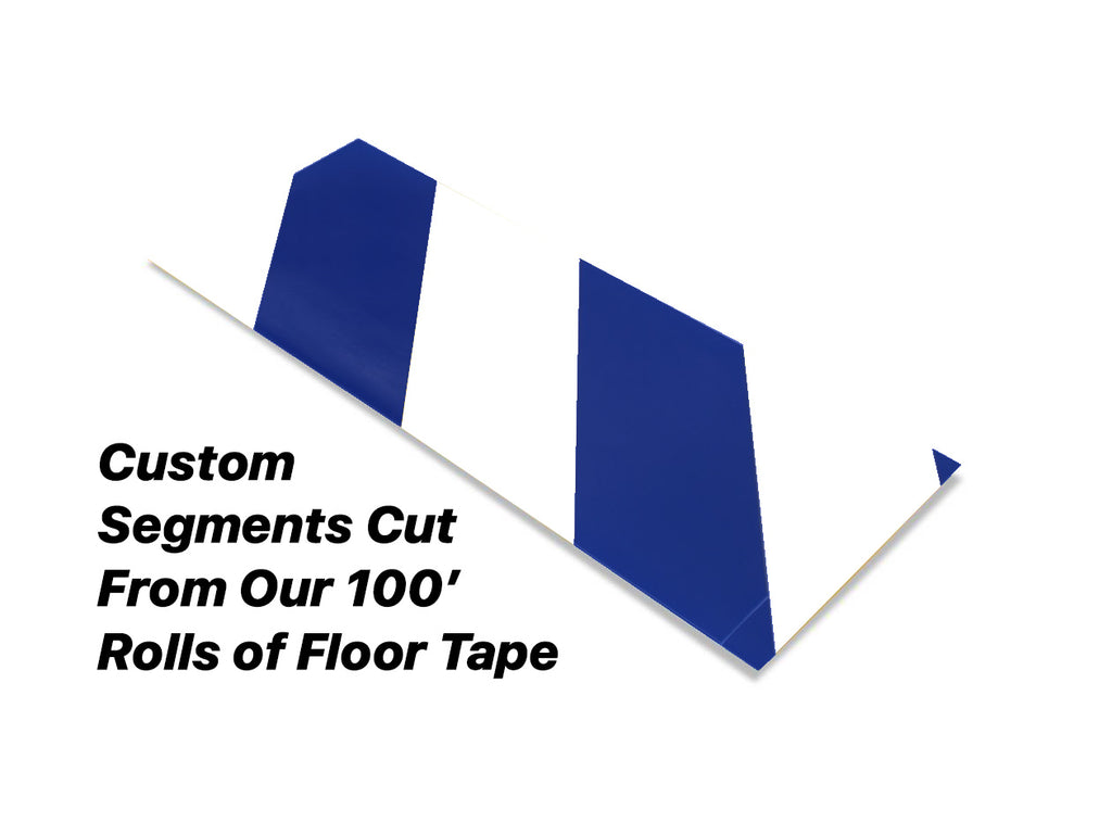 "Custom Cut Segments - 6"" White Tape with Blue Diagonals - 100'  Roll"