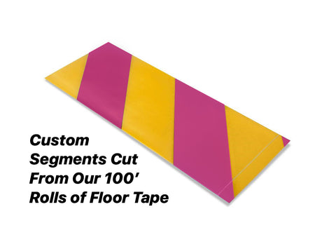 "Custom Cut Segments - 4"" Yellow Tape with Magenta Diagonals - 100'  Roll"