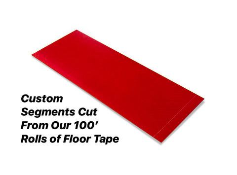 "Custom Cut Segments - 6"" RED Solid Color Tape - 100'  Roll"