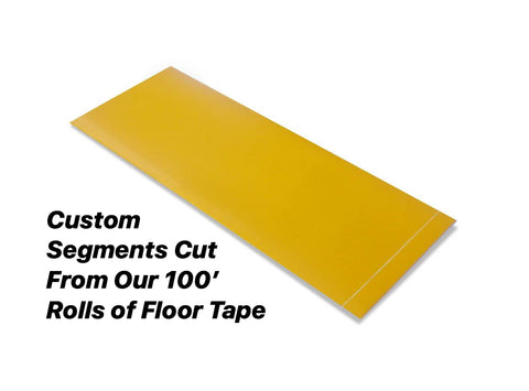 "Custom Cut Segments - 4"" YELLOW Solid Color Tape - 100'  Roll"