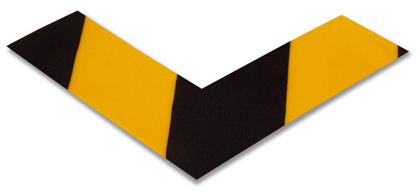 "2"" Wide Solid Yellow Floor Marking Angle With Black Chevrons - Pack of 25"