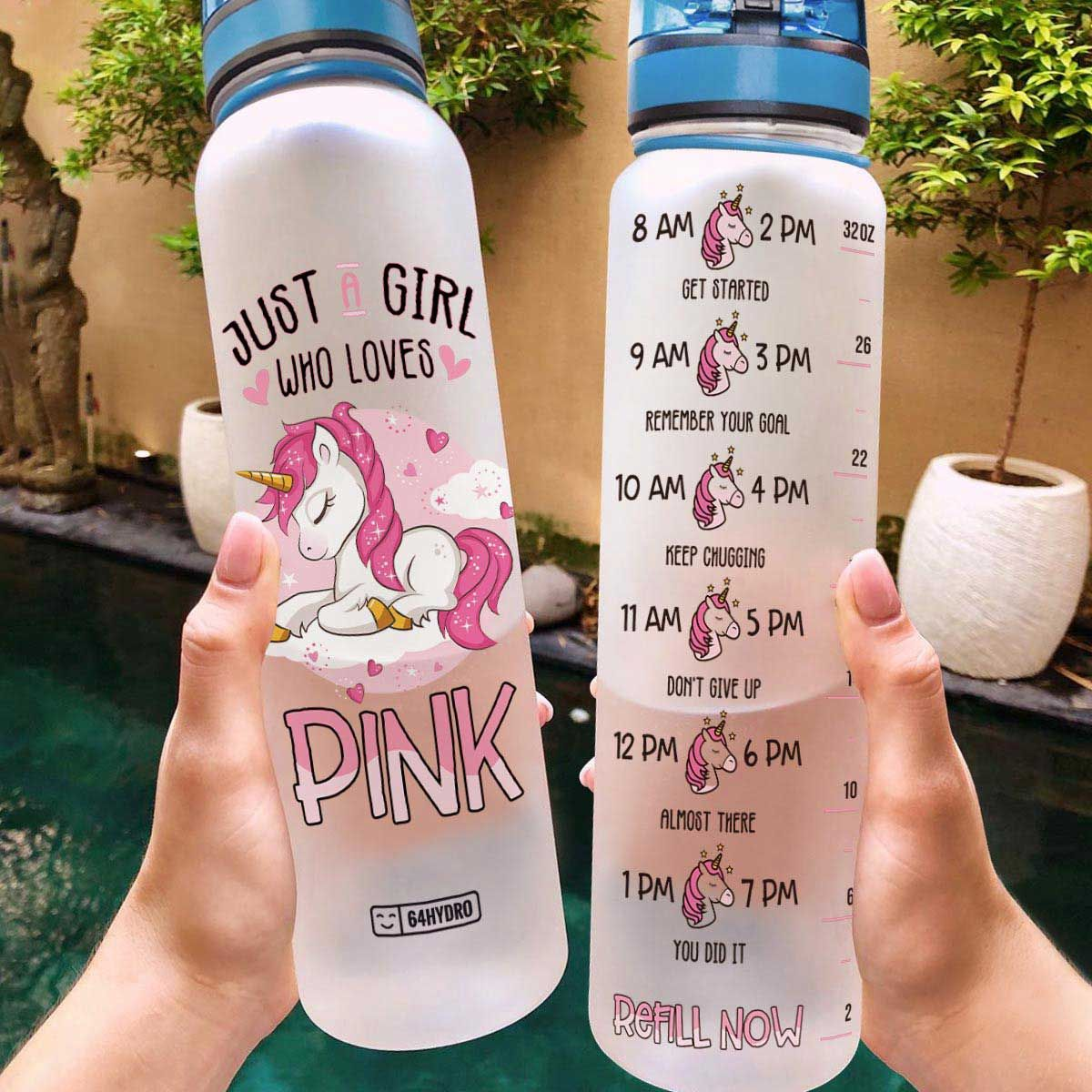 Pink Unicorns THK2507003 Water Tracker Bottle