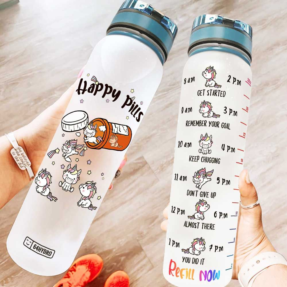 Unicorn Happy Pills KD2 HRL1708015 Water Tracker Bottle