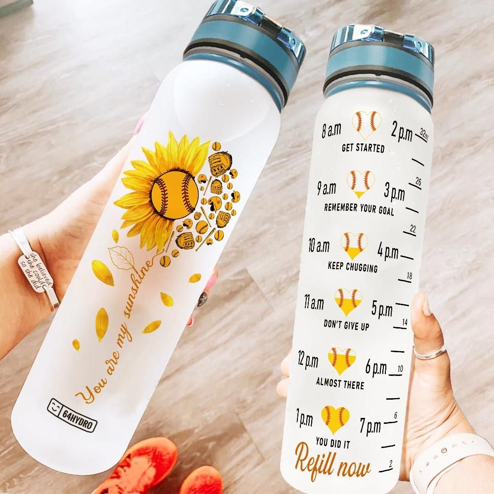 Softball Sunflower HNY2905004 Water Tracker Bottle