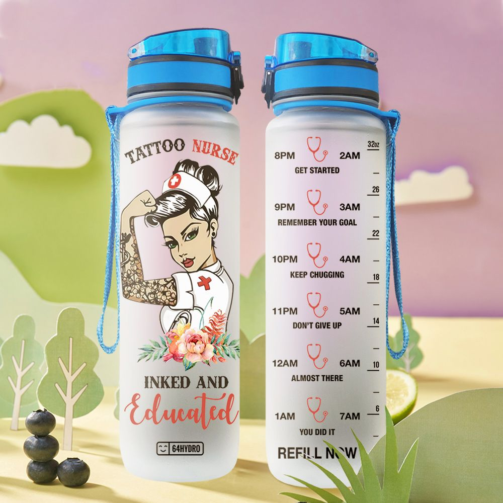 NS Tattoo Nurse HHA0409024 Water Tracker Bottle