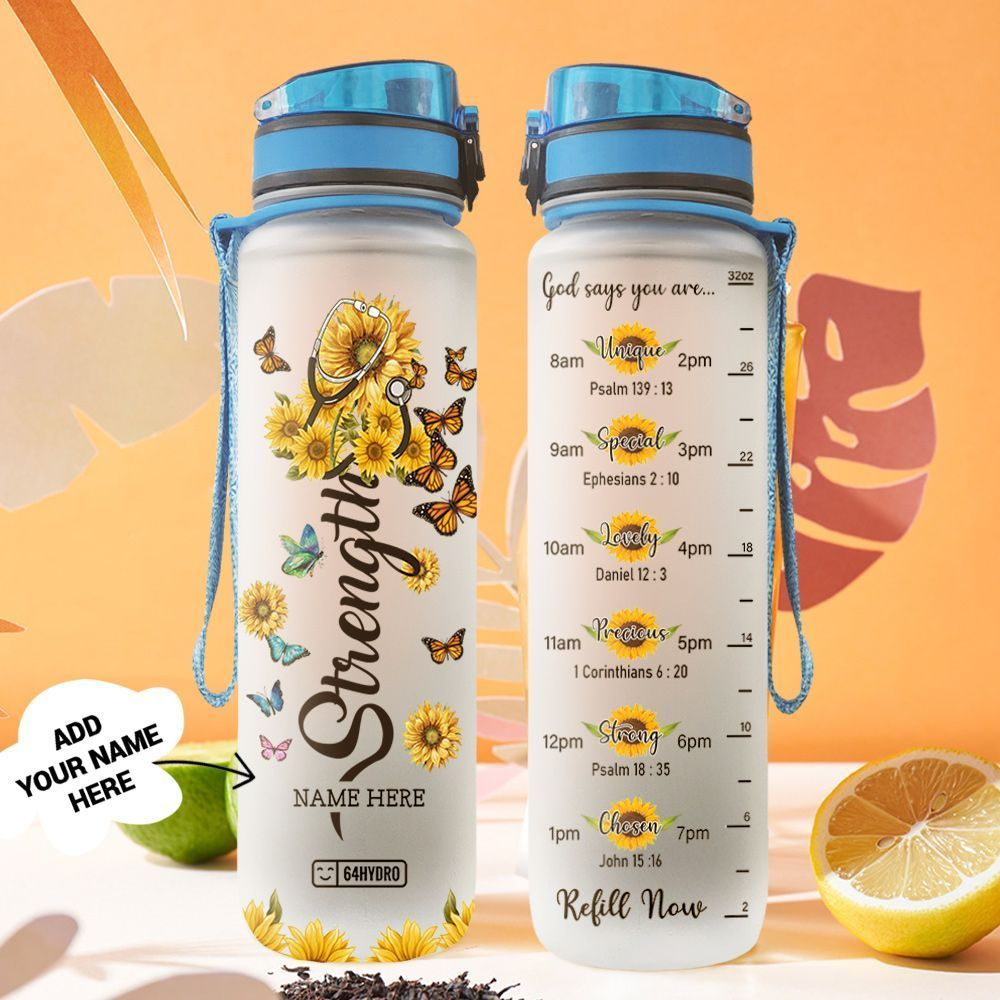 Sunflower Nurse Personalized HTR1808041 Water Tracker Bottle