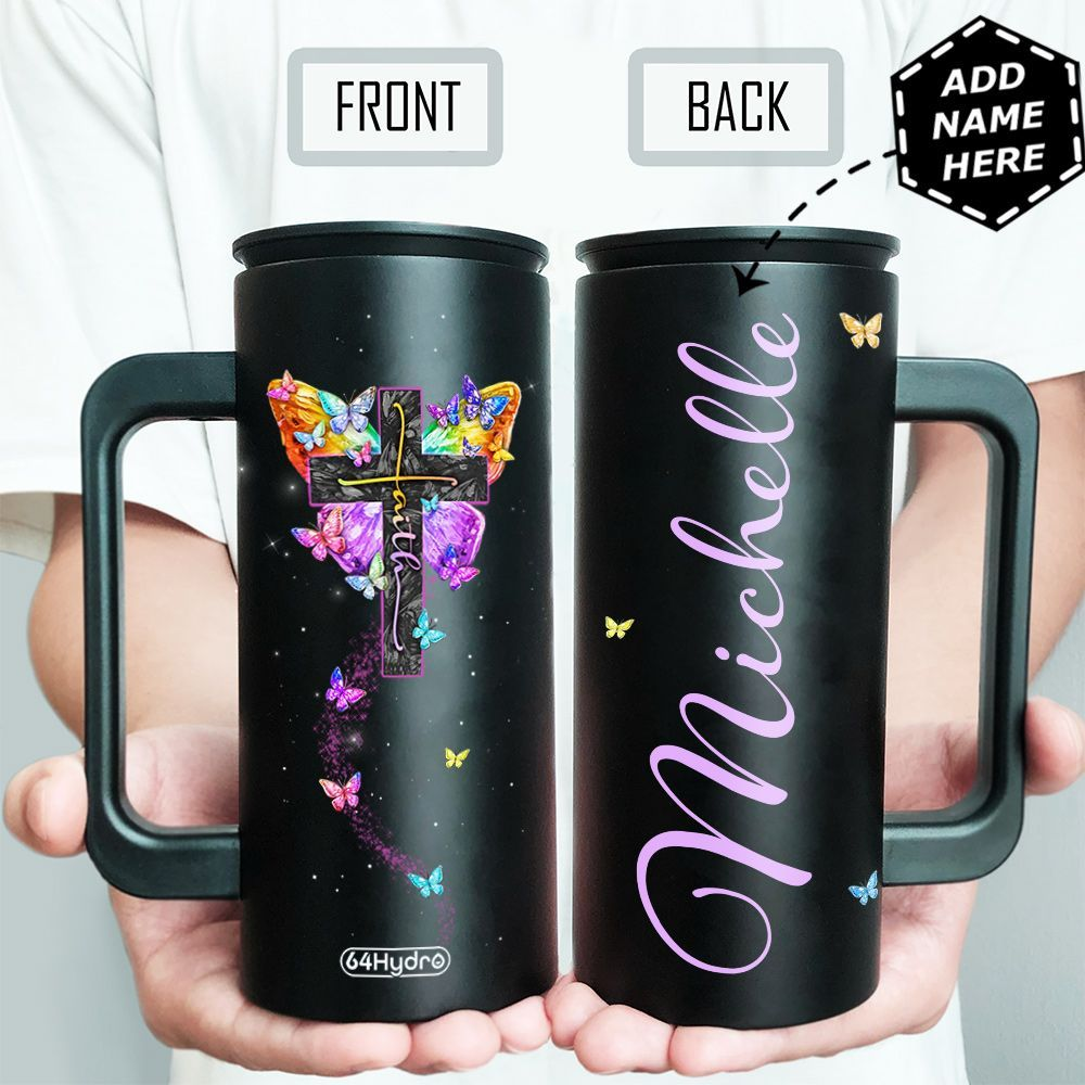 Faith Butterfly Personalized HHA1509009 12oz Stainless Steel Insulated Tumbler