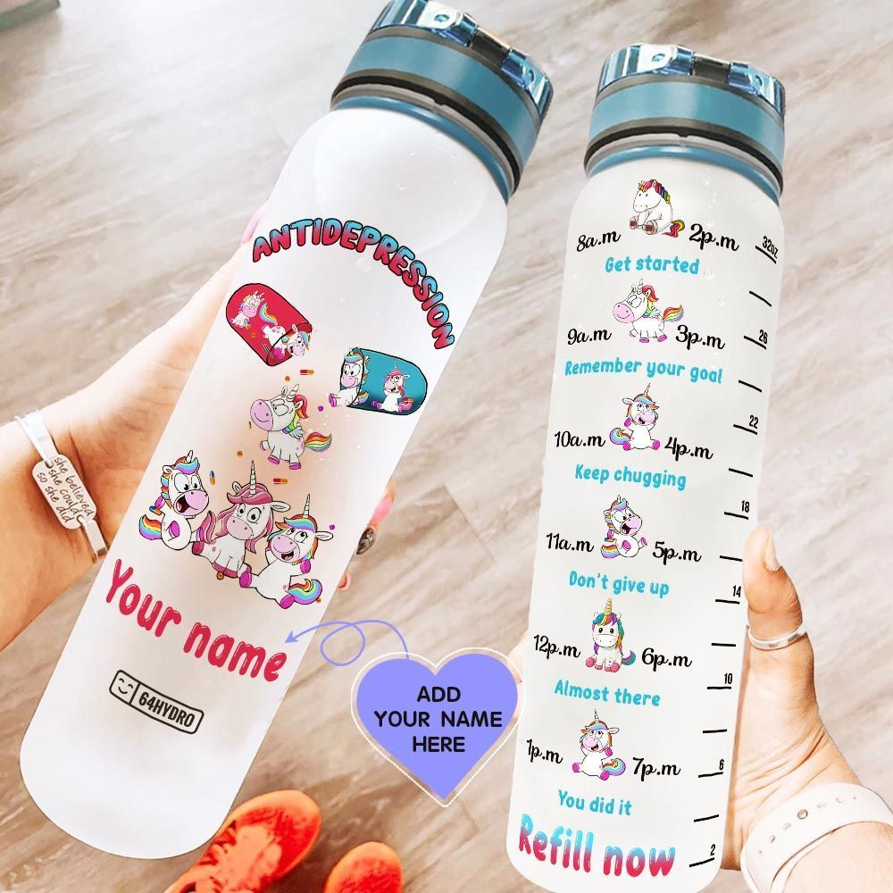 Unicorn Vitamin Personalized KD2 HAL1708028 Water Tracker Bottle