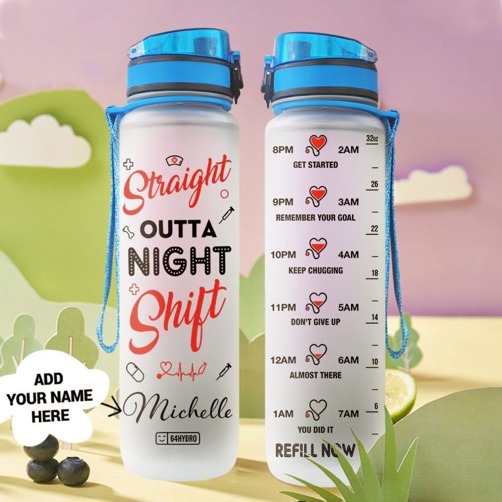 Nurse Nightshift Personalized HHA2608004 Water Tracker Bottle