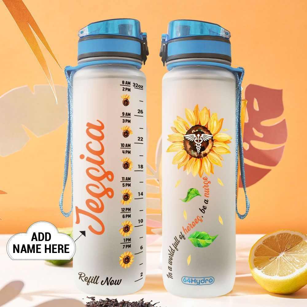Nurse Sunflower Personalized HLV0909013 Water Tracker Bottle