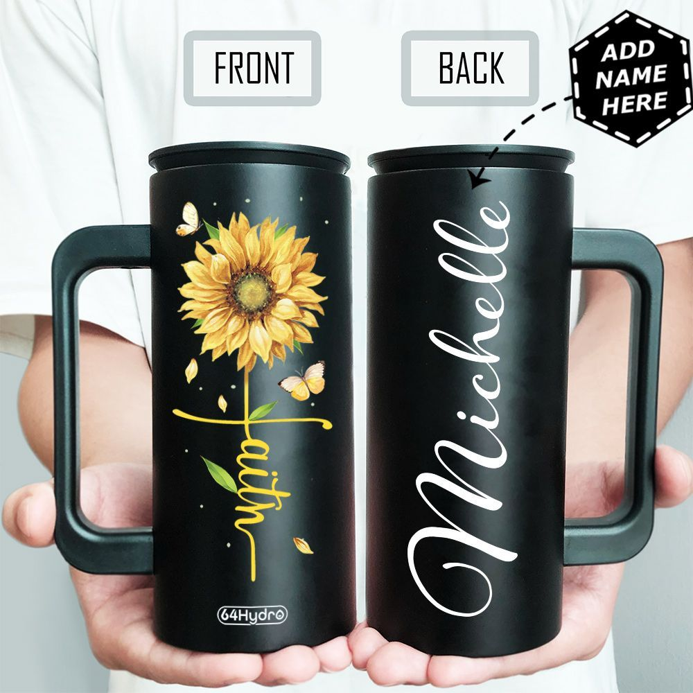 Faith Sunflower Personalized HHA1509011 12oz Stainless Steel Insulated Tumbler