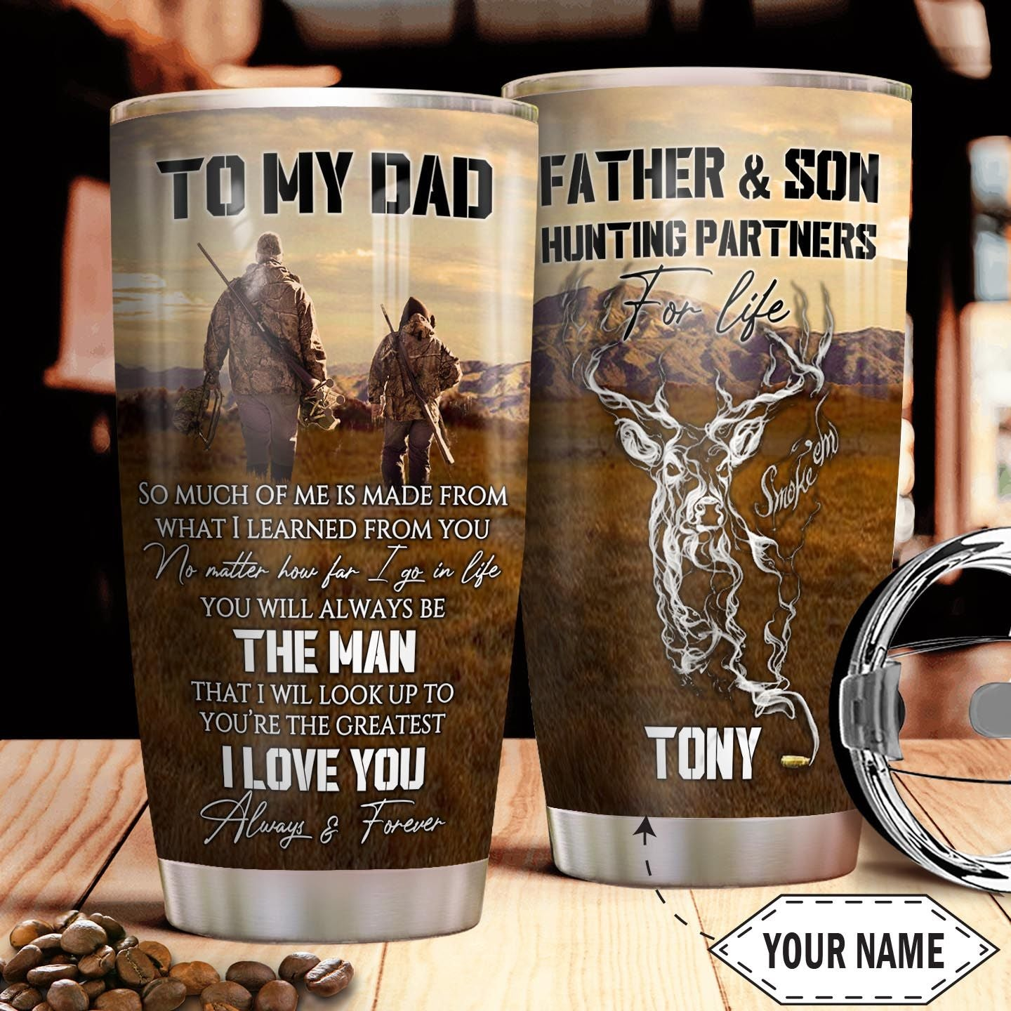 Father Hunting Personalized THA2610038 Stainless Steel Tumbler