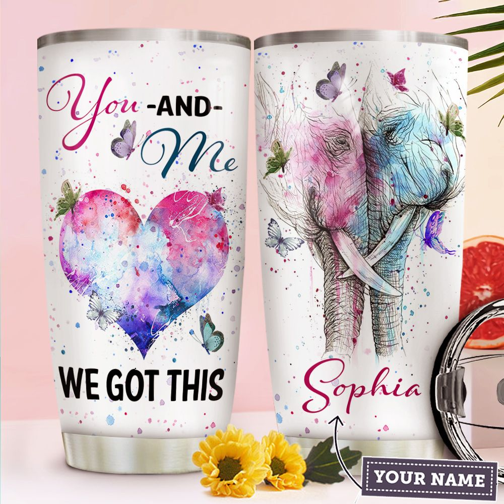 Elephant Couple Personalized TTR2810005 Stainless Steel Tumbler