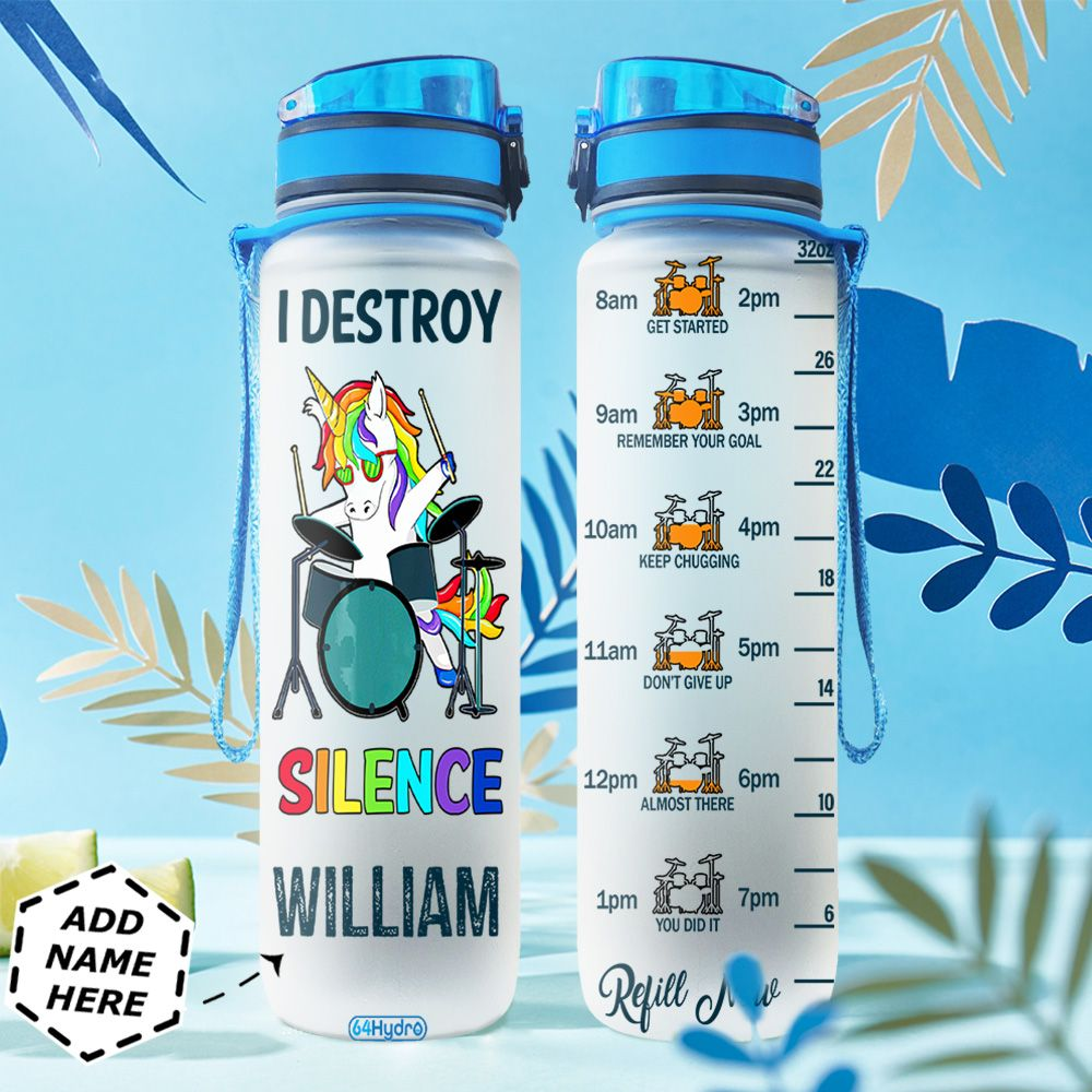 Drummer Unicorn Personalized TTR0311003 Water Tracker Bottle