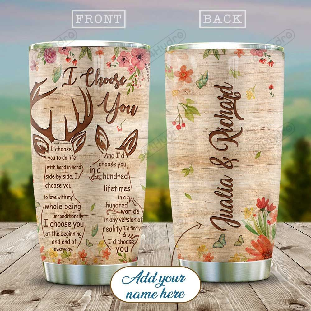 Wooden Style Deer Couple Personalized KD2 HAL0611016 Stainless Steel Tumbler