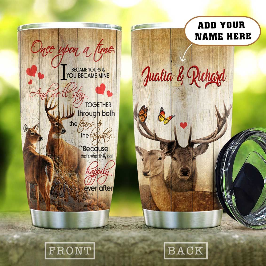 Deer Couple Choose You Personalized KD2 HAL0911005 Stainless Steel Tumbler