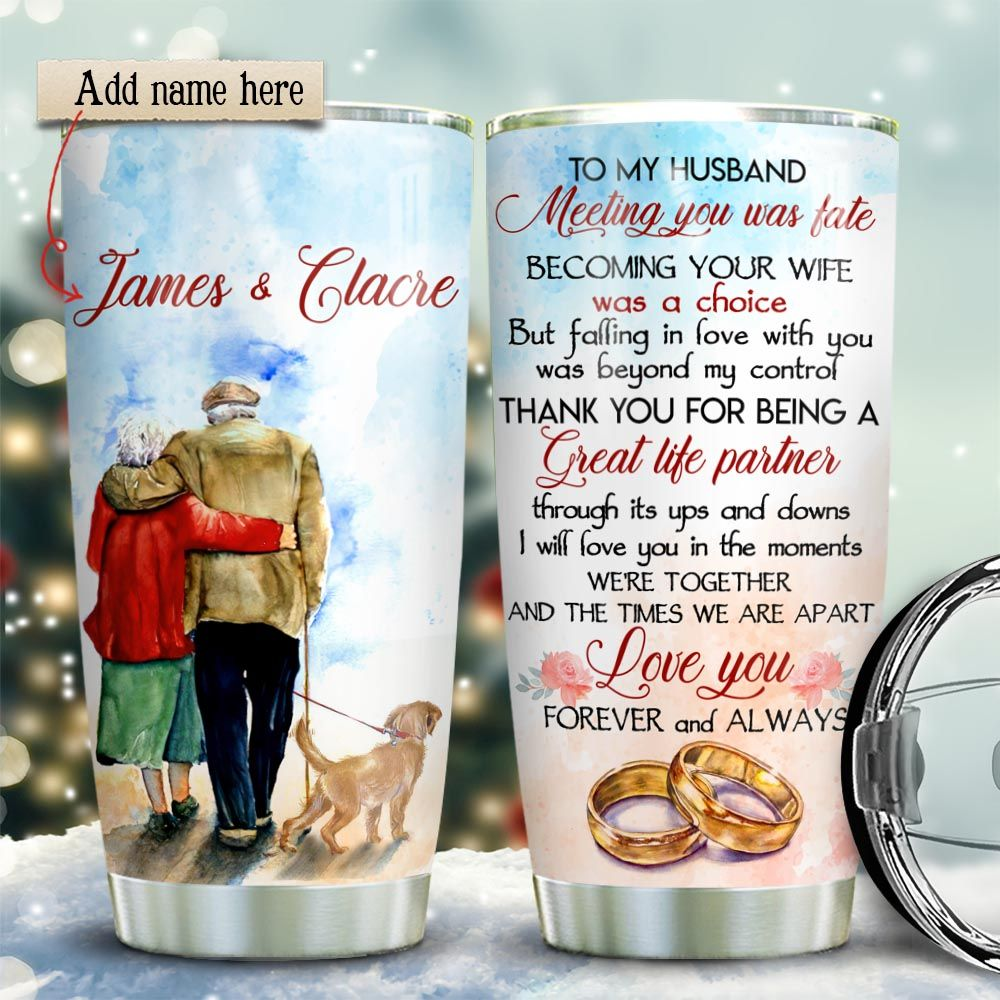 Old Couple Golden Retriever Personalized KD2 HRX1611005 Stainless Steel Tumbler