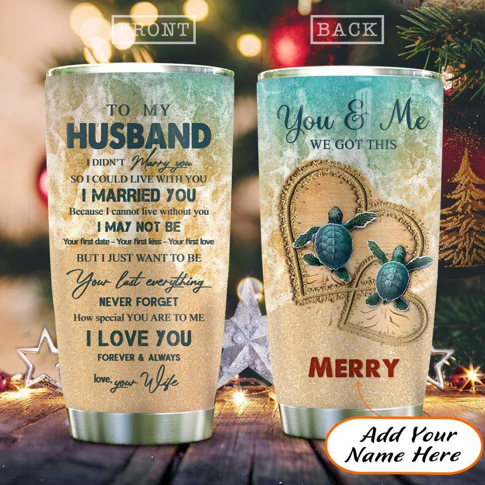 Turtle Couple Husband Personalized KD2 HAL1611020 Stainless Steel Tumbler
