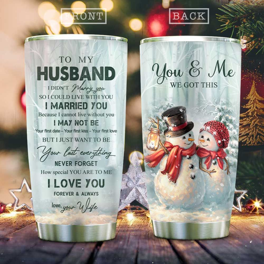 Snowman Couple My Husband KD2 HAL1611018 Stainless Steel Tumbler