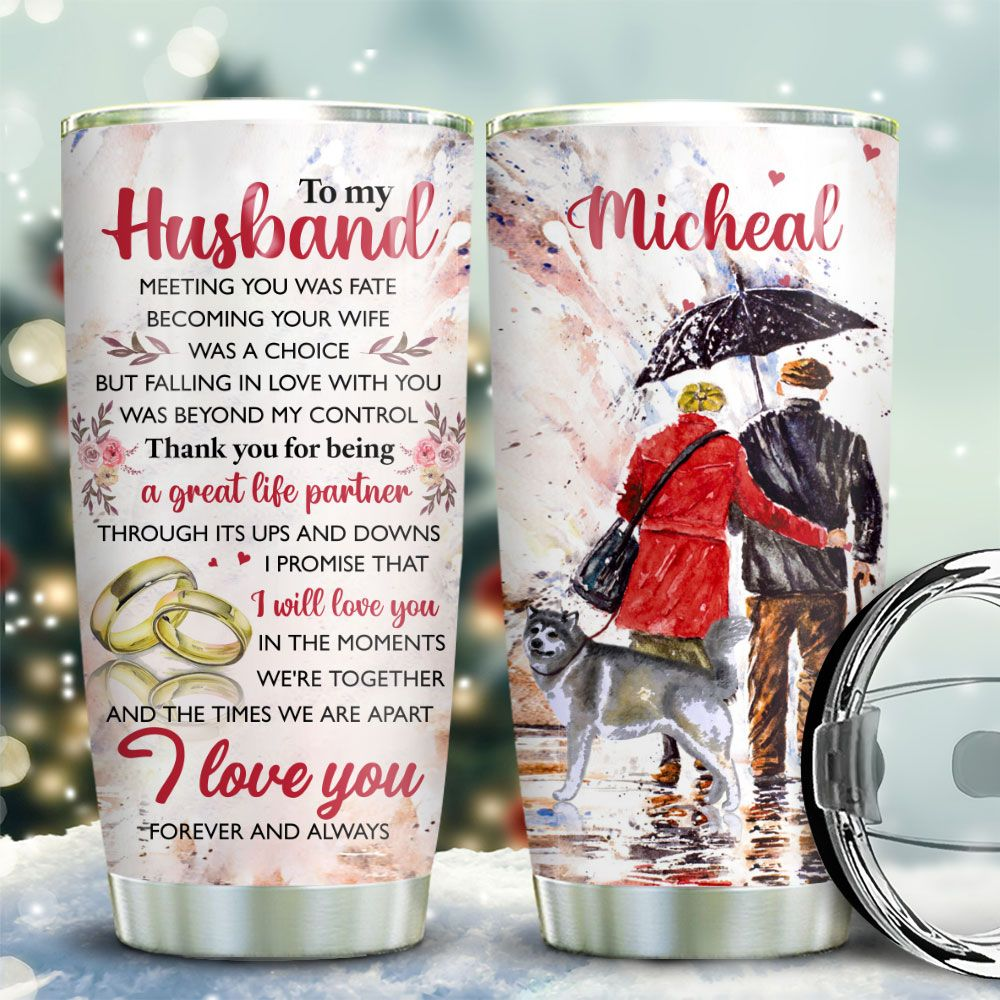 Old Couple Alaskan Malamute Personalized KD2 BGX1711005 Stainless Steel Tumbler