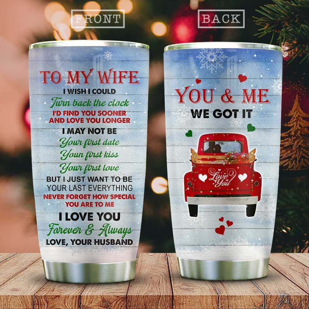 Couple In Red Truck Christmas KD2 HAL2411003 Stainless Steel Tumbler